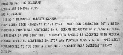 Telegram from 1942 informing of Winston Parker's capture by Germans.