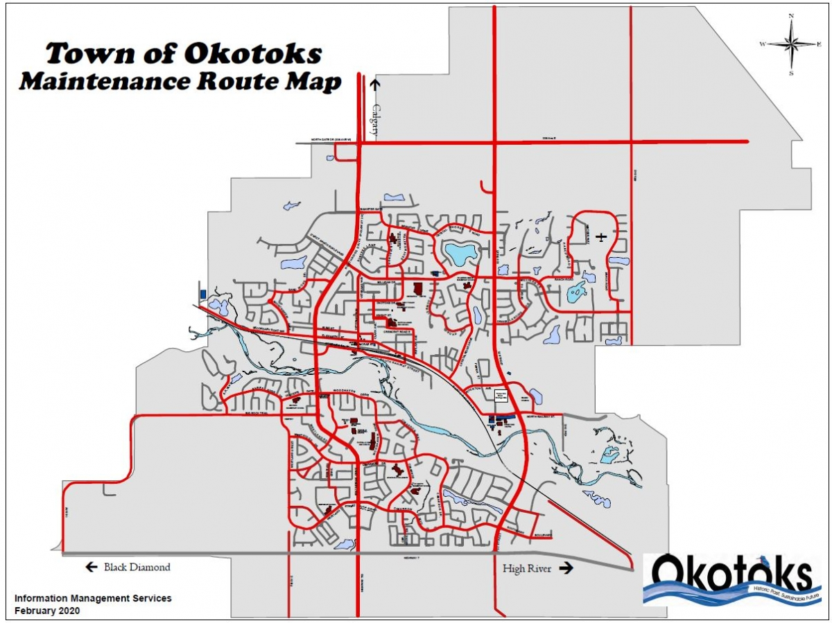Map showing declared maintenance routes in Okotoks