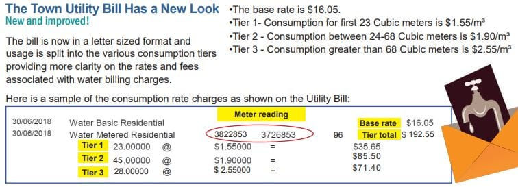Town utility bill has a new look & error in the July Utility