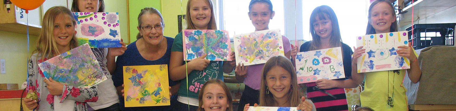 Kids painting birthday party