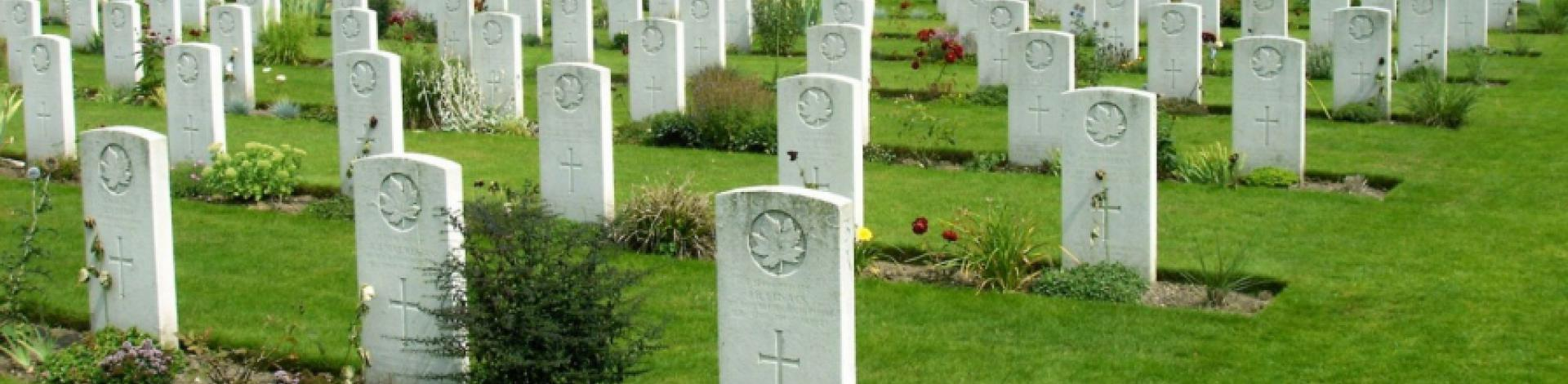 Rows of gravestones in a war cemetery.