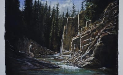 Painting of fisherman casting his line into a river