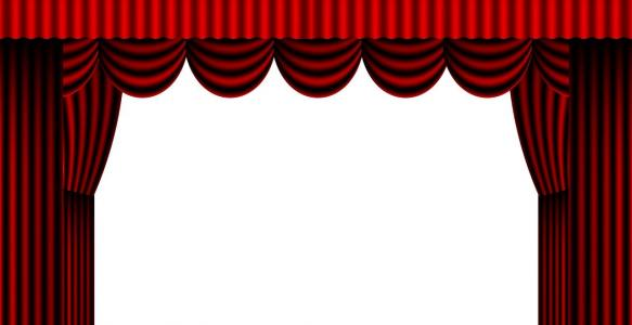 Red theatre curtains open.