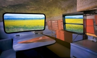 The inside of a Boler trailer.