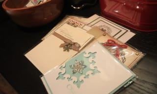 Pile of Christmas cards on a table