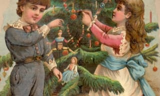 Painting of 2 children decorating a tree