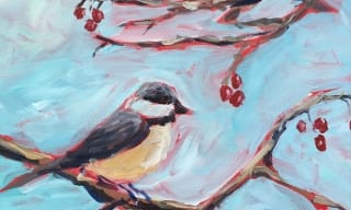 Jennifer Stables art birds chickadees