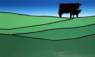 Cow in field painting