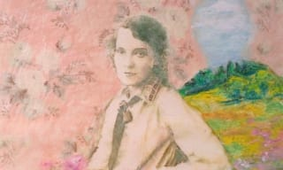 Watercolour image of a pioneer woman with pink flowers in front of her