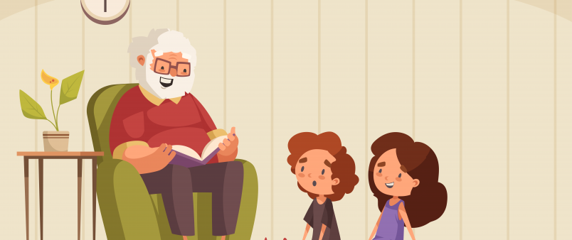 Graphic illustration of elderly man reading stories to youth