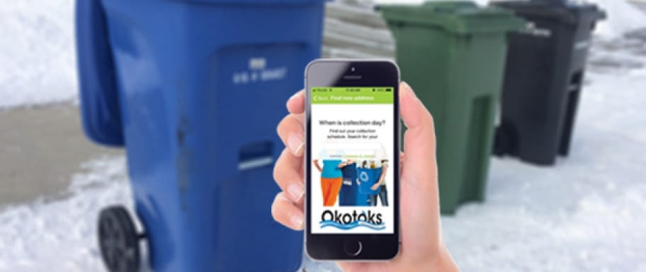 Mobile waste app reminders with winter carts