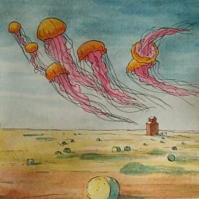 Jellyfish floating above a grain elevator and wheat field.