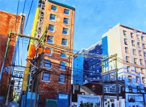 Painting of tall buildings