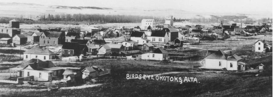 Bird's Eye View of Okotoks, 1912, Museum Archives