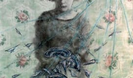 Watercolour image of pioneer woman with broken dishes