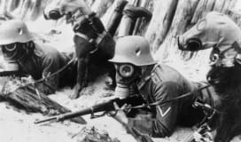 World War I soldier gas masks