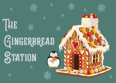 Graphic illustration of a gingerbread house and the event brand logo